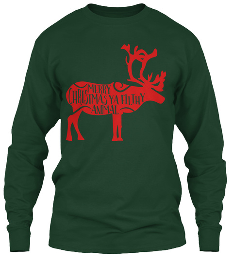 Merry Christmas Filthy Animal Forest Green T-Shirt Front