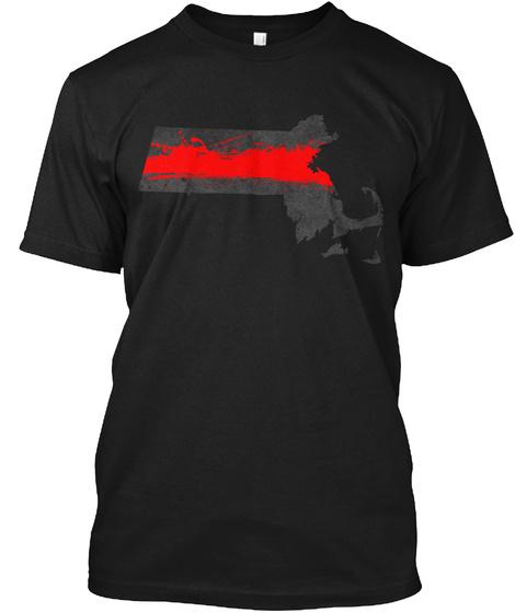 Massachusetts Red Line Onyx Black T-Shirt Front