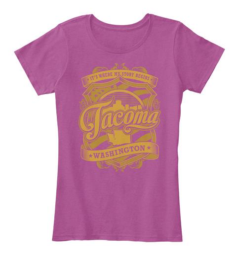 It's Where My Story Begins Tacoma Washington Heathered Pink Raspberry T-Shirt Front