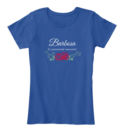 Barbosa It's Pronounced 'awe Some' Deep Royal  T-Shirt Front