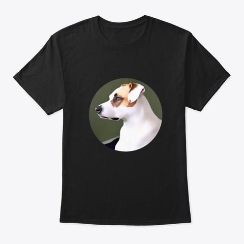Pitbull Dog Portrait Black T-Shirt Front