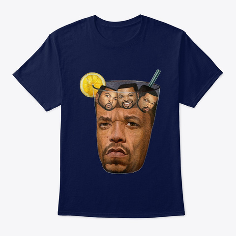 Iced Tea With Ice Cubes T Shirt Adults Navy T-Shirt Front