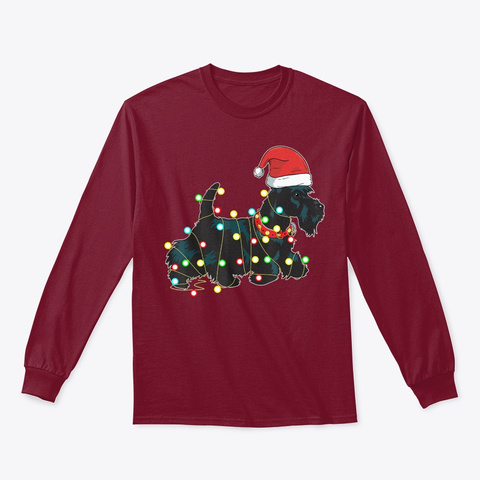 Christmas Lights Scottie Dog Lover Funny Cardinal Red T-Shirt Front
