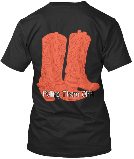Red Boots, Pulling Them Off Black T-Shirt Back