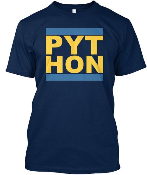 Pyt Hon   Cool Python Programmer Design Navy T-Shirt Front