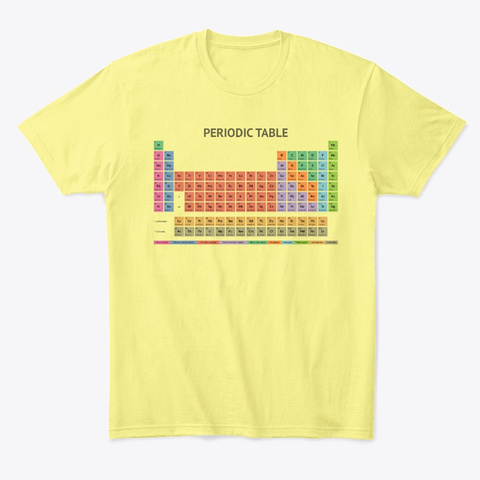 Periodic Table T Shirt (Light) Lemon Yellow  T-Shirt Front