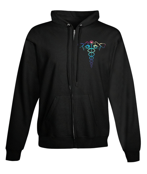 Zip Hoodie Caduceus In Colors Black T-Shirt Front