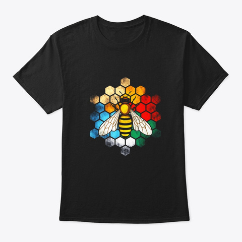Retro Vintage Honey Hives And Bee  Black T-Shirt Front