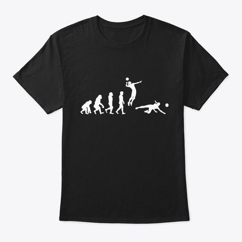 Volleyball Player Evolution Black T-Shirt Front