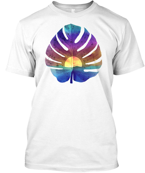 Scenic Colored Sunset Ocean Palm Art T Shirt White T-Shirt Front