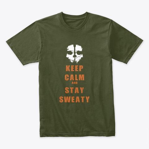 Stay Sweaty Cod Military Green T-Shirt Front
