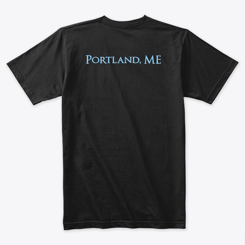 Blue / Portland Me Black T-Shirt Back