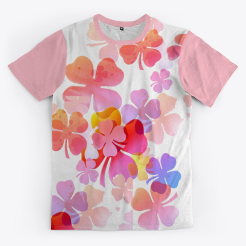Four Leaf Clover Many Colors Pink T-Shirt Front