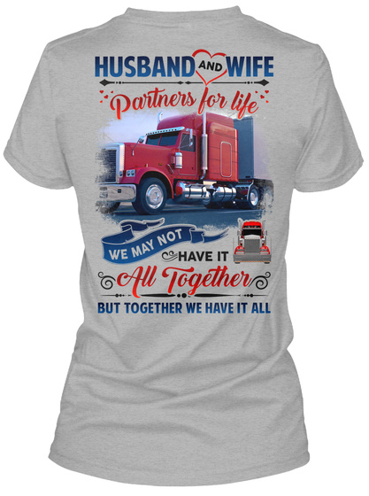Awesome Trucker's Wife Sport Grey T-Shirt Back