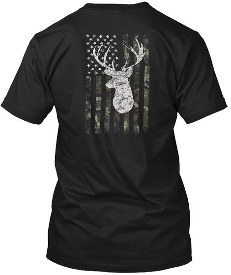 Camouflage Buck American Flag Black T-Shirt Back