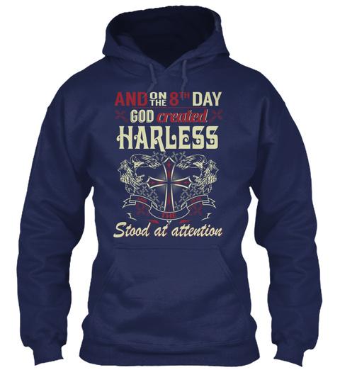 8 Th Day God Created Harless Navy Sweatshirt Front