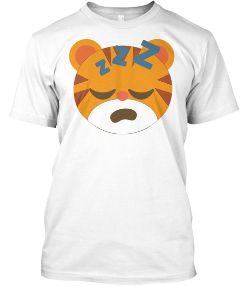 Tiger Emoji Sleepy And Zzz Face White T-Shirt Front