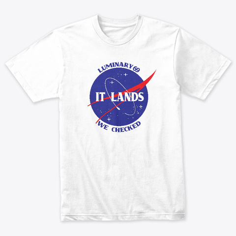 It Lands We Checked Heather White T-Shirt Front