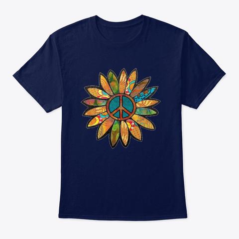 Green  Peace Sign Flower  Navy T-Shirt Front