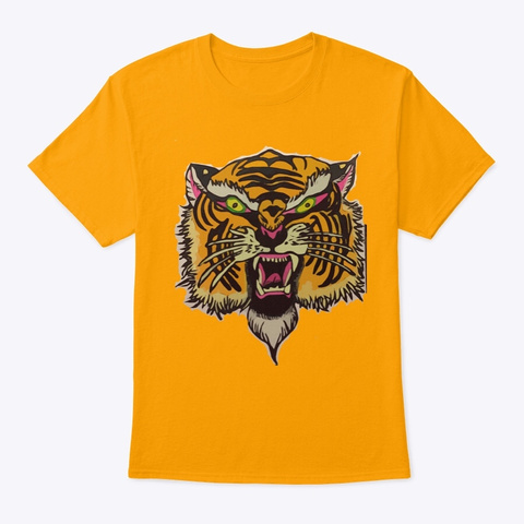 """""""Tiger Strong"""" Painting  Gold T-Shirt Front"""