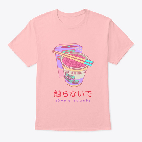Japanese Anime Cute Ramen Vaporwave Pale Pink T-Shirt Front