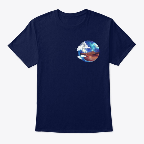 Desert And Sea Watercolor Navy T-Shirt Front