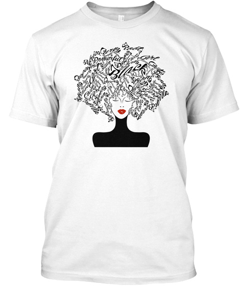 Strong Black Woman With Afro Word Art Na White T-Shirt Front
