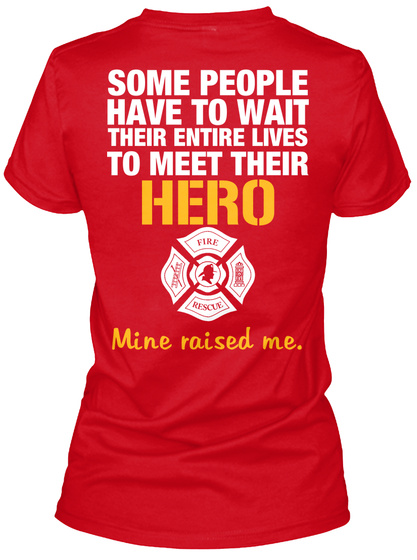 Firefighters Daughter Red T-Shirt Back