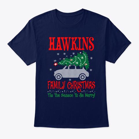 Hawkins Family Christmas Season Navy T-Shirt Front