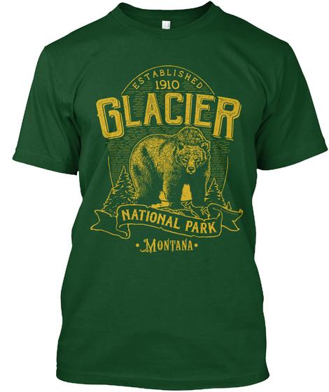 Established 1910 Glacier National Park Montana Deep Forest T-Shirt Front