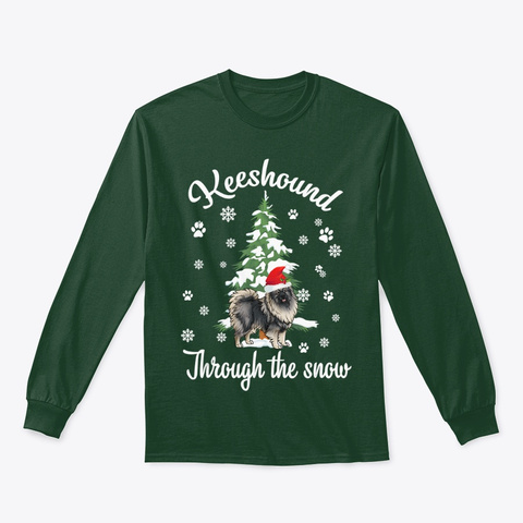 Keeshond Through The Snow Christmas Gift Forest Green T-Shirt Front
