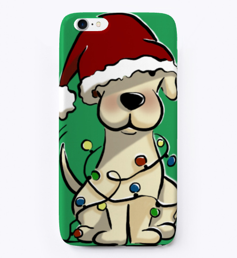 Christmas Puppy Phone Case Green T-Shirt Front