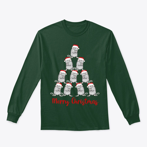 Rat Santa Christ Tree Xmas New Year 2020 Forest Green T-Shirt Front