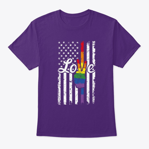 Love Peace Sign Rainbow Gay Pride Americ Purple T-Shirt Front