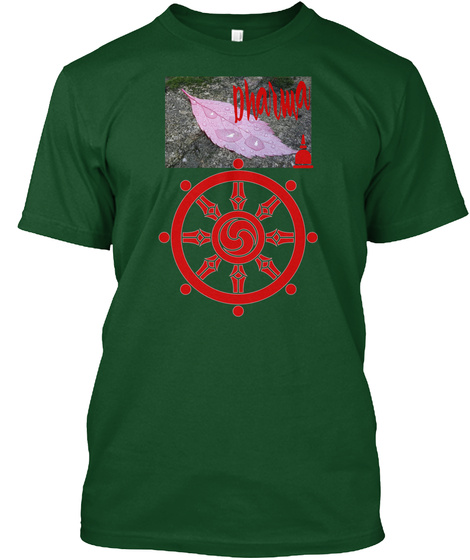 Dharma Wheel Forest Green  T-Shirt Front