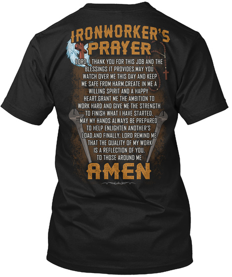 Ironworker's Prayer Amen Black T-Shirt Back