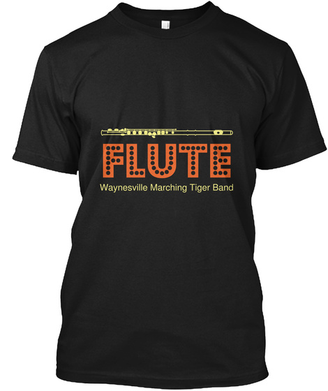 Flute Waynesville Marching Tiger Band Black T-Shirt Front