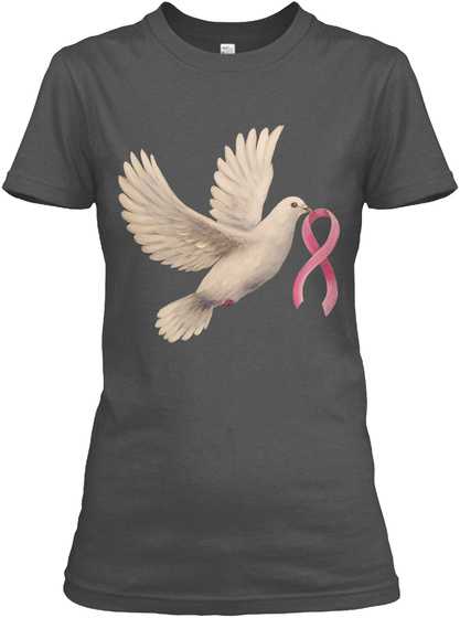Hope Dove With Pink Ribbon Charcoal Women's T-Shirt Front
