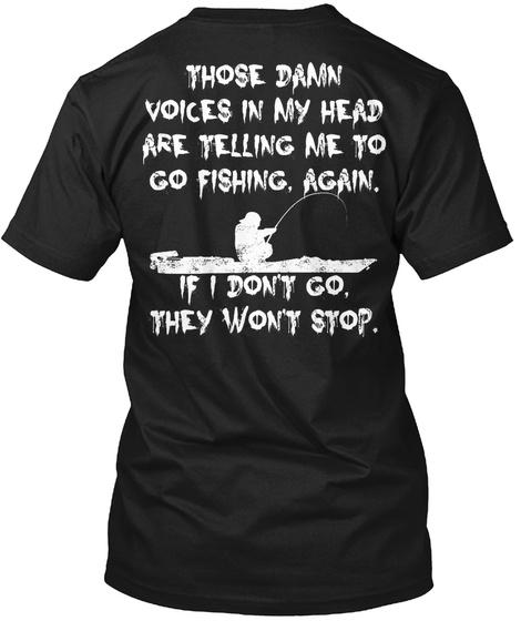 Limited Edition Go Fishing Again Black T-Shirt Back