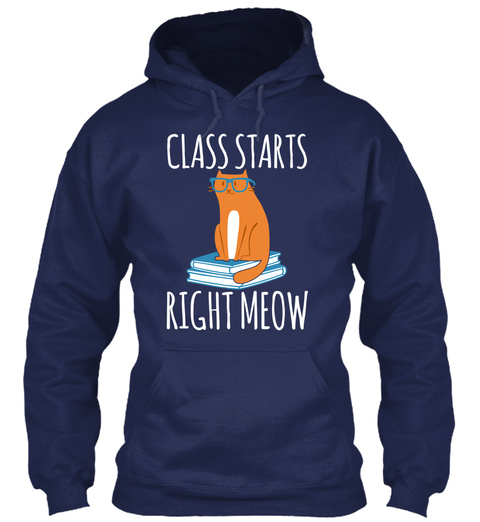 Class Starts Right Meow Navy T-Shirt Front