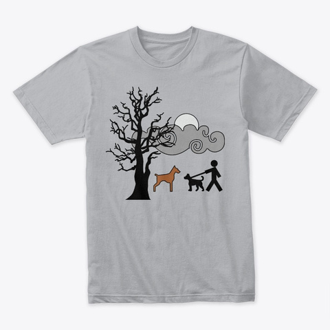 Dog Walking Heather Grey T-Shirt Front