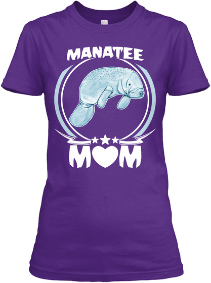 Manatee Mom Shirt Cute Mothers Day Gift Purple T-Shirt Front