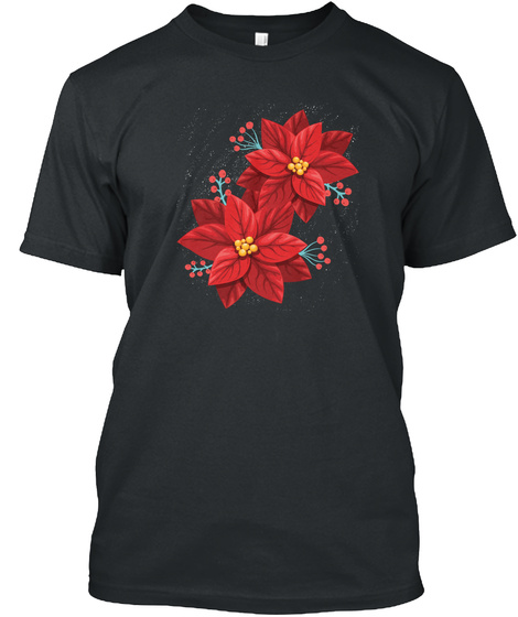 Red Poinsettia Merry Christmas Happy Black T-Shirt Front