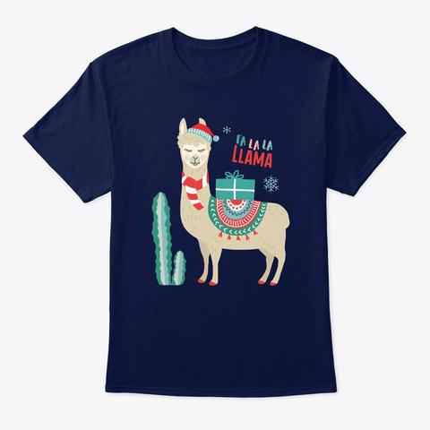 Fa La La Llama Shirt Llama Christmas Navy T-Shirt Front
