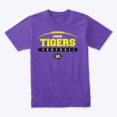 Tigers Football 2019, Purple Purple Rush T-Shirt Front