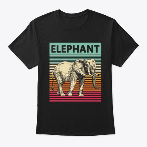 Retro Elephant Vintage Elephant Black T-Shirt Front