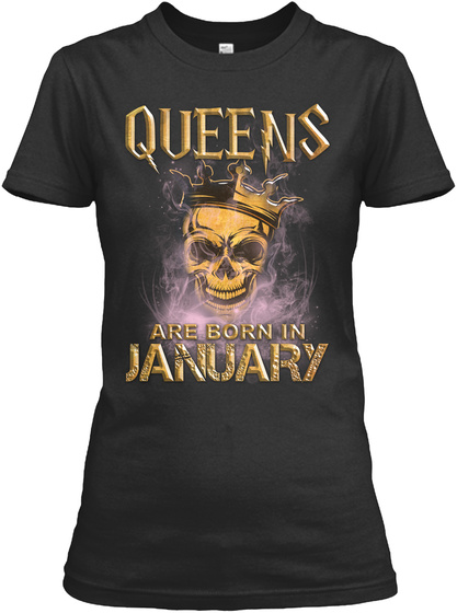 Queens Are Born In February Black T-Shirt Front