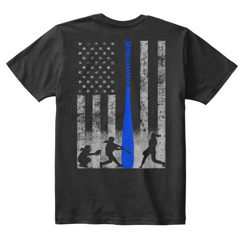 Kid's Softball Flag W/ Blue Bat Black T-Shirt Back