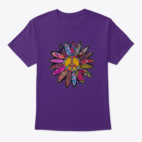 Purple Peace Sign Flower  Purple T-Shirt Front