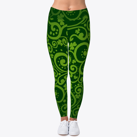 St Patrick's Day Leggings Irish Shamrock Black T-Shirt Front